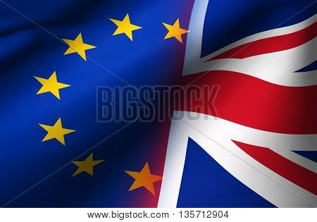 Brexit British referendum UK background concept with Union Jack fading with European Union flag 3D illustration.
