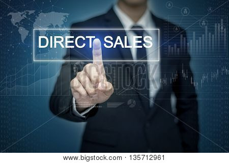 Businessman hand touching DIRECT SALES button on virtual screen