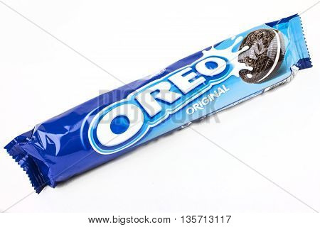 LONDON UK - MAY 6TH 2016: A packet of Oreo cookies isolated over a plain white background on 6th May 2016.