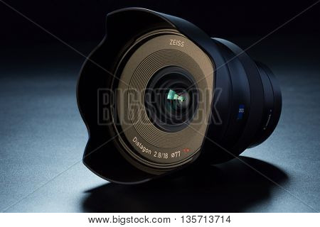 BERLIN, GERMANY - June 06, 2016: FF Zeiss Batis 18mm f/2.8 wide-angleLens for Sony E Mount