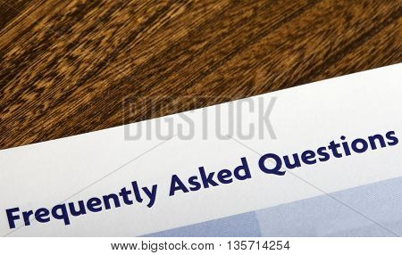 Frequently Asked Questions heading in an information booklet.