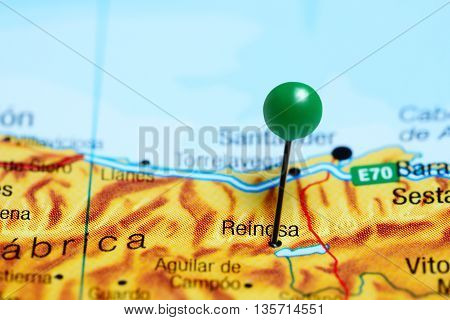 Reinosa pinned on a map of Spain