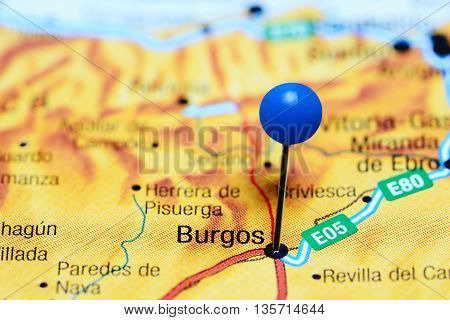 Burgos pinned on a map of Spain