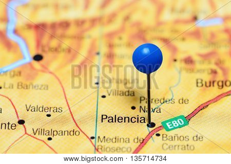 Palencia pinned on a map of Spain