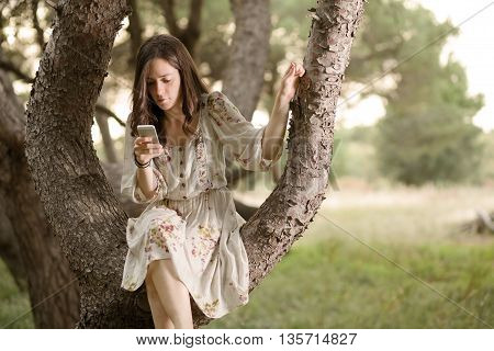 Woman with Smartphone Sitting on a Pine Tree in a Park