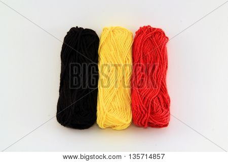 flag of wool in the colors of belgium