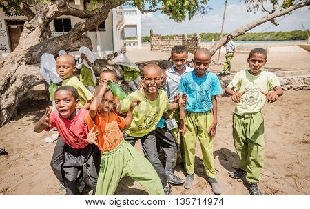 Mobmasa, Kenya- March 16,2016: School children in Mombasa Kenya