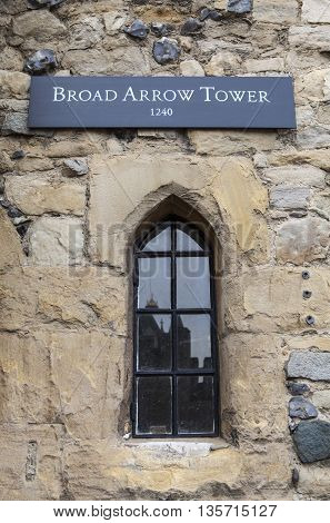 A view of the Broad Arrow Tower at the Tower of London. A total of 21 towers make up the historic Tower of London fortification.