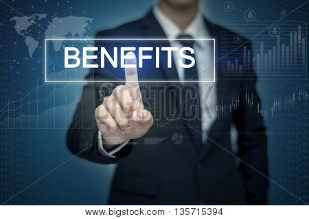Businessman hand touching BENEFITS button on virtual screen