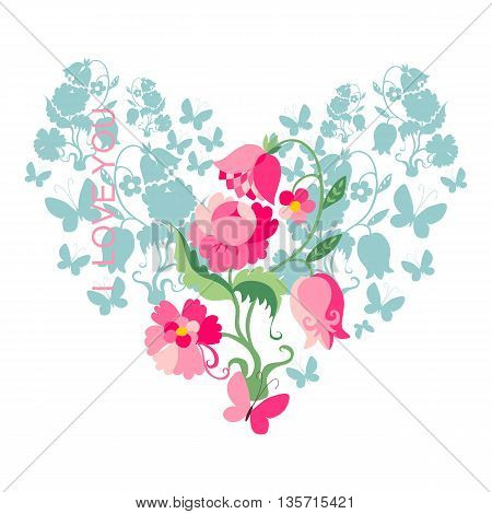 Love card. Floral heart for Valentines Day. Vector illustration.
