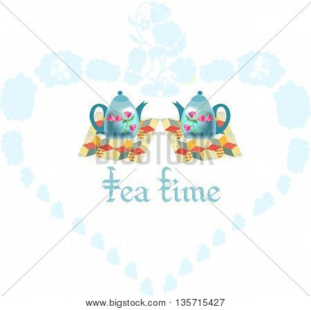 Beautiful vector illustration of two teapots on patchwork napkins inside heart. Romantic card for Valentines day.
