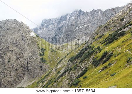 View On Mountain Chain Of The Alps (karwendel)
