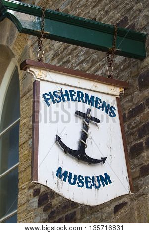 HASTINGS UK - APRIL 1ST 2016: The sign on the exterior of the Fishermens Museum in Hastings on 1st April 2016.