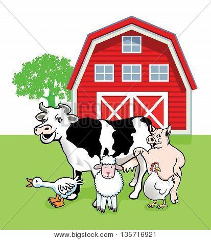 five farm animals cartoon, cow, lamb, pig
