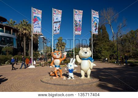 Sochi, Russia - February 9, 2016: Sculptural composition - The three mascots of the Winter Olympics 2014 in a Sochi, Navaginskaya street.