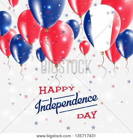 France Vector Patriotic Poster. Independence Day Placard With Bright Colorful Balloons Of Country Na