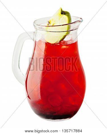 Lemonade Pitcher. Cherry Lemonade Drink with Ice and Apple