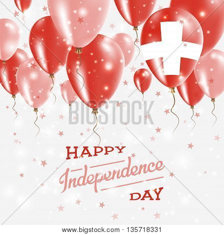 Switzerland Vector Patriotic Poster. Independence Day Placard With Bright Colorful Balloons Of Count