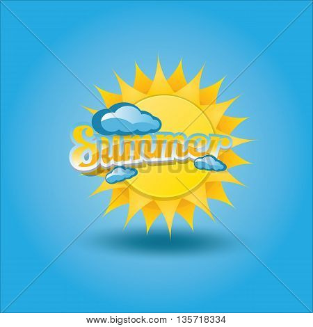 vector summer label. summer icon with sun. Summer Background design for banner, poster, flyer, cover, brochure. sun logo design template.