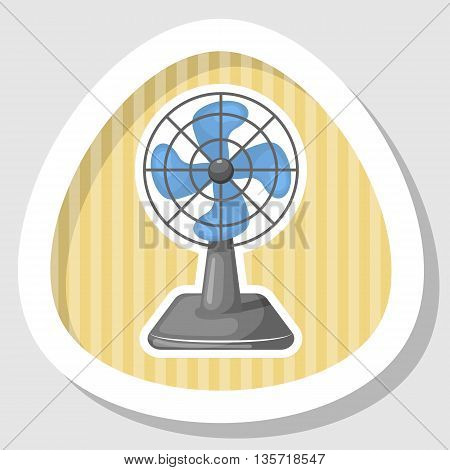 Vector Illustration Of Blue Desk Fan