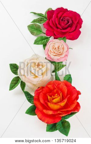 Handmade flower fabric foamiran. Rose made of sponge rubber.