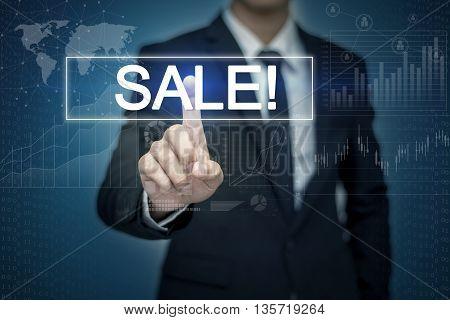 Businessman hand touching SALE! button on virtual screen