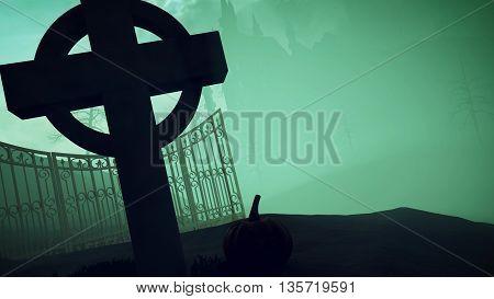 Halloween. Dark Castle On A Graveyard.