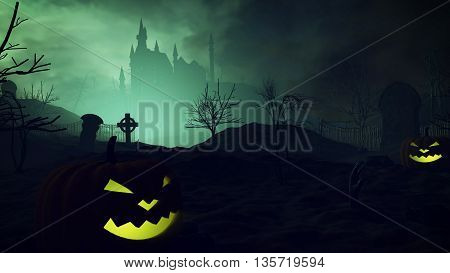 Halloween Pumpkins And Dark Castle On A Graveyard.