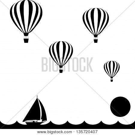 aerostats are flying in sky over the sea at sunset, down sailing boat, vector illustration
