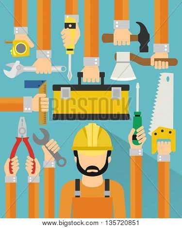 Industrial concept design flat with repaiman.Vector illustration