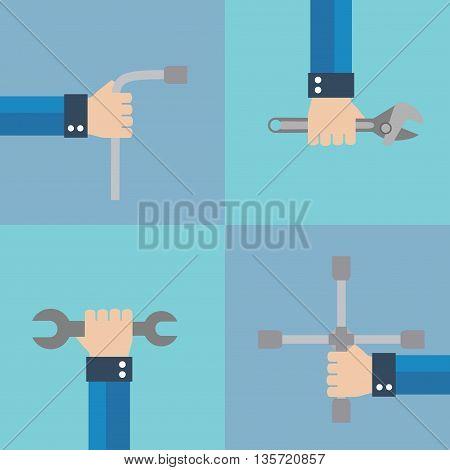 Wrench concept design flat set.Vector illustration card