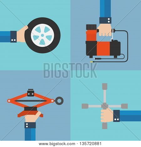Repair of automobile wheels flat design.Vector Illustration
