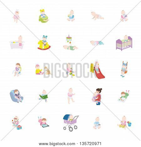 Babies of toddler color vector icons collection