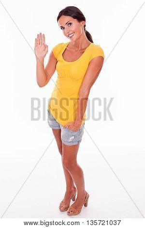 Waving Brunette Woman On White Background