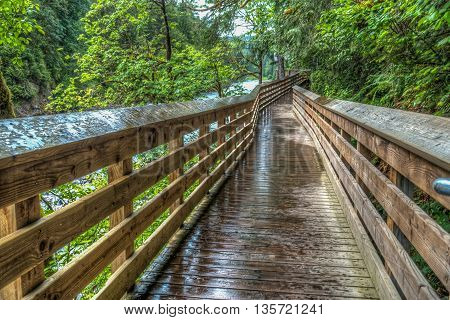 High dynamic range image of an elevated walkway along the Snoqualmie River in Washington State.