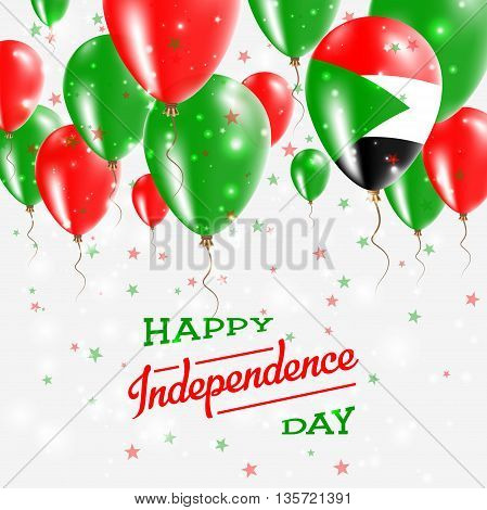 Sudan Vector Patriotic Poster. Independence Day Placard With Bright Colorful Balloons Of Country Nat