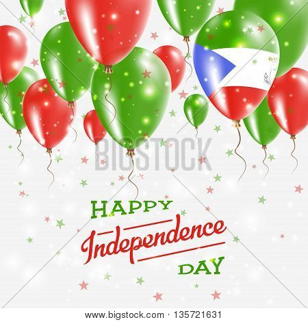 Equatorial Guinea Vector Patriotic Poster. Independence Day Placard With Bright Colorful Balloons Of