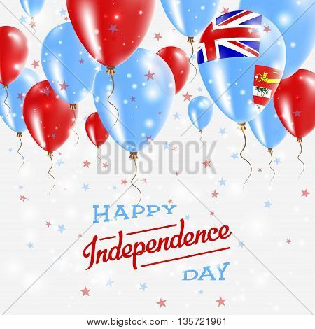 Fiji Vector Patriotic Poster. Independence Day Placard With Bright Colorful Balloons Of Country Nati