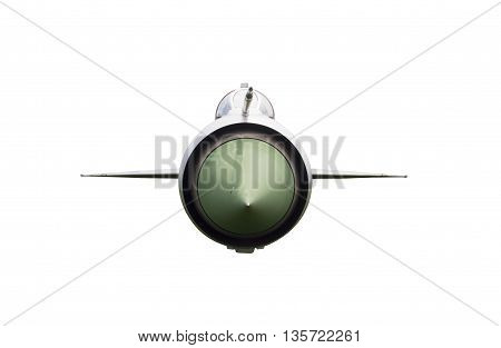 Fron View of Fighter Plane Isolated on White Background