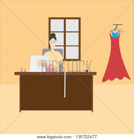 seamstress sews clothes on a light background