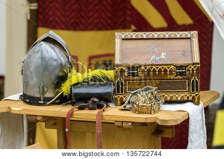 objects of a medieval knight at a reenactment