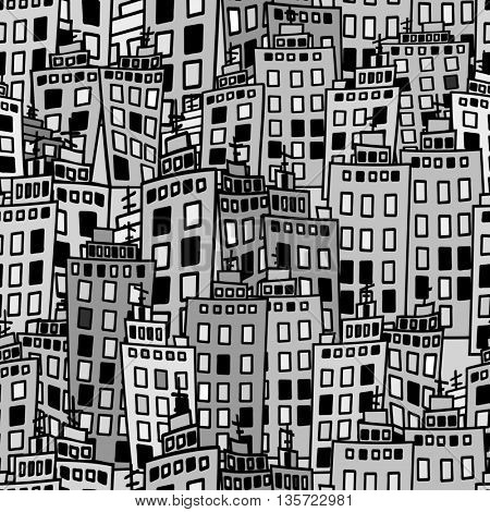 Seamless texture of urban homes. Dense buildings. illustration.