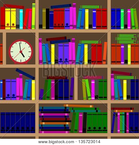 Large shelves filled with books.