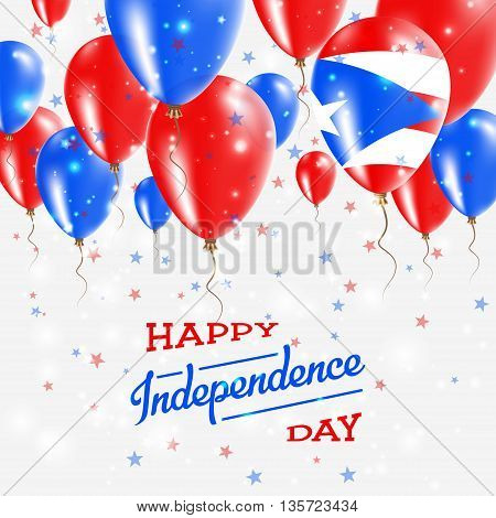 Puerto Rico Vector Patriotic Poster. Independence Day Placard With Bright Colorful Balloons Of Count