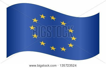 Flag of Europe European Union waving on white background