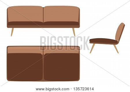 Sofas Set. Furniture for Your Interior Design. Flat Vector Illustration. Top, Front and Side View.