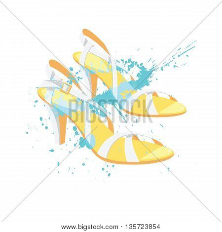 Vector illustration of summer shoes with splash color isolated on white background. White sandals with high heel for summer