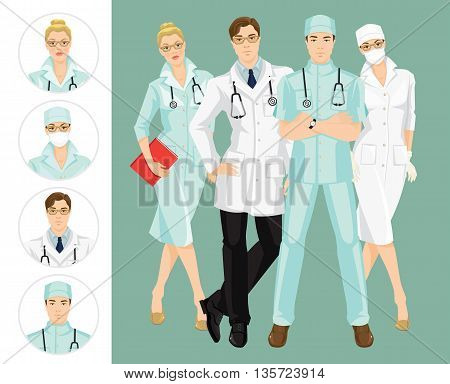 Group of medical people isolated on color background. A young doctor in medical gown and hat isolated on white background. Professional man and woman in glasses