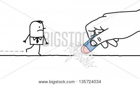 Big hand and  businessman - eraser