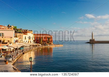 famouse venetian harbour waterfront and lighthouse of Chania old town, Crete, Greece